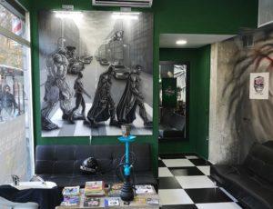 peluqueria barbaman por dentro mural pintado